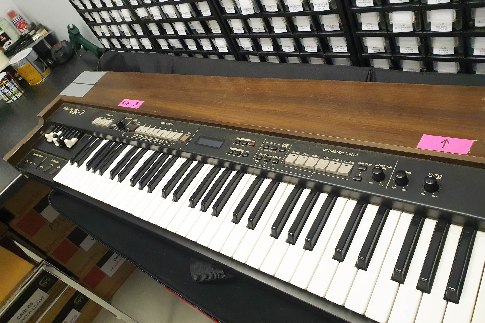 Roland VK-7 transformer power supply fix at Plasma Music - keyboard repairs in Hertfordshire