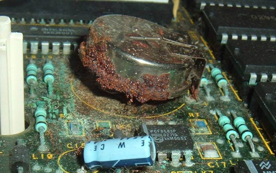 Leaked battery damaged circuit board