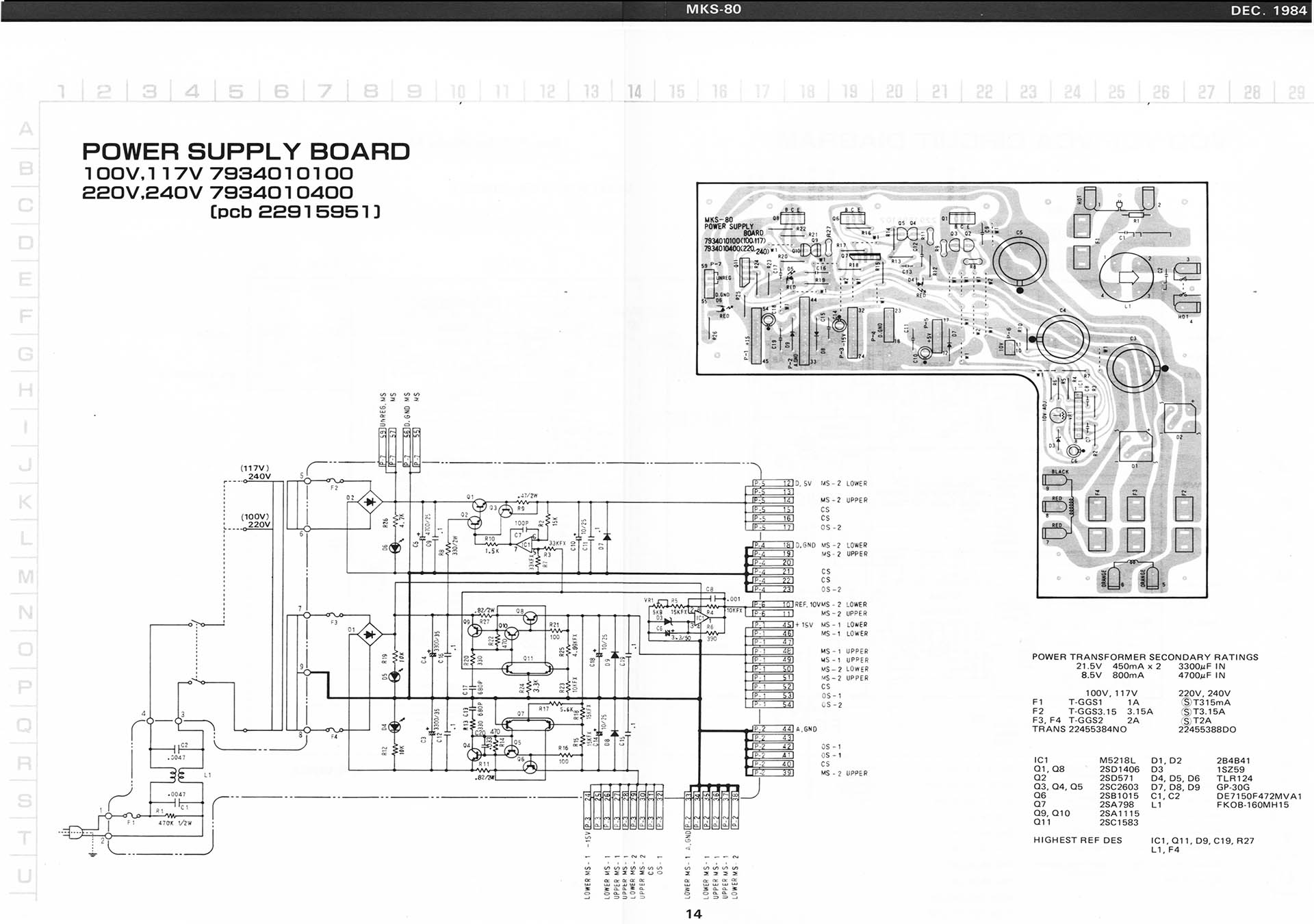 MKS-80 service notes showing the original Roland power supply schematic and board layout