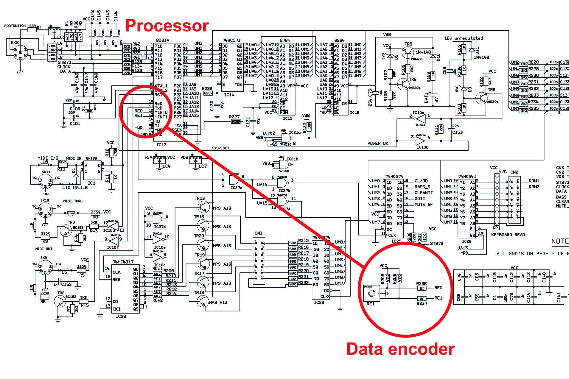The encoder is connected directly to the processor in the Marshall JMP-1