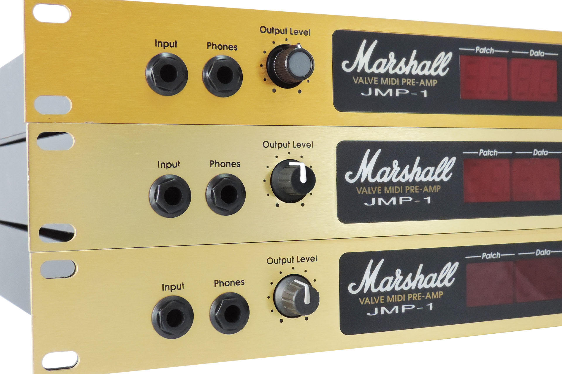 Three Marshall JMP-1 different looking front panels