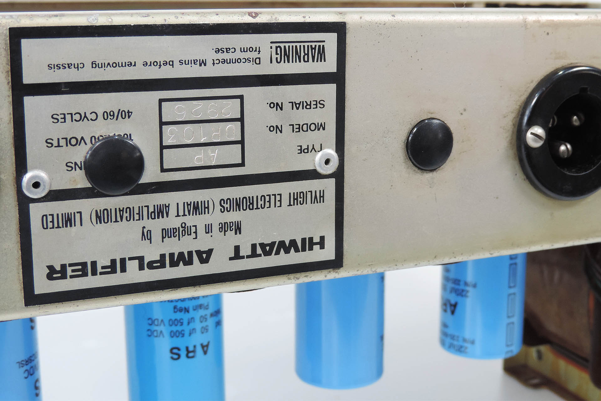 Hiwatt DR-103 with plugged mod holes