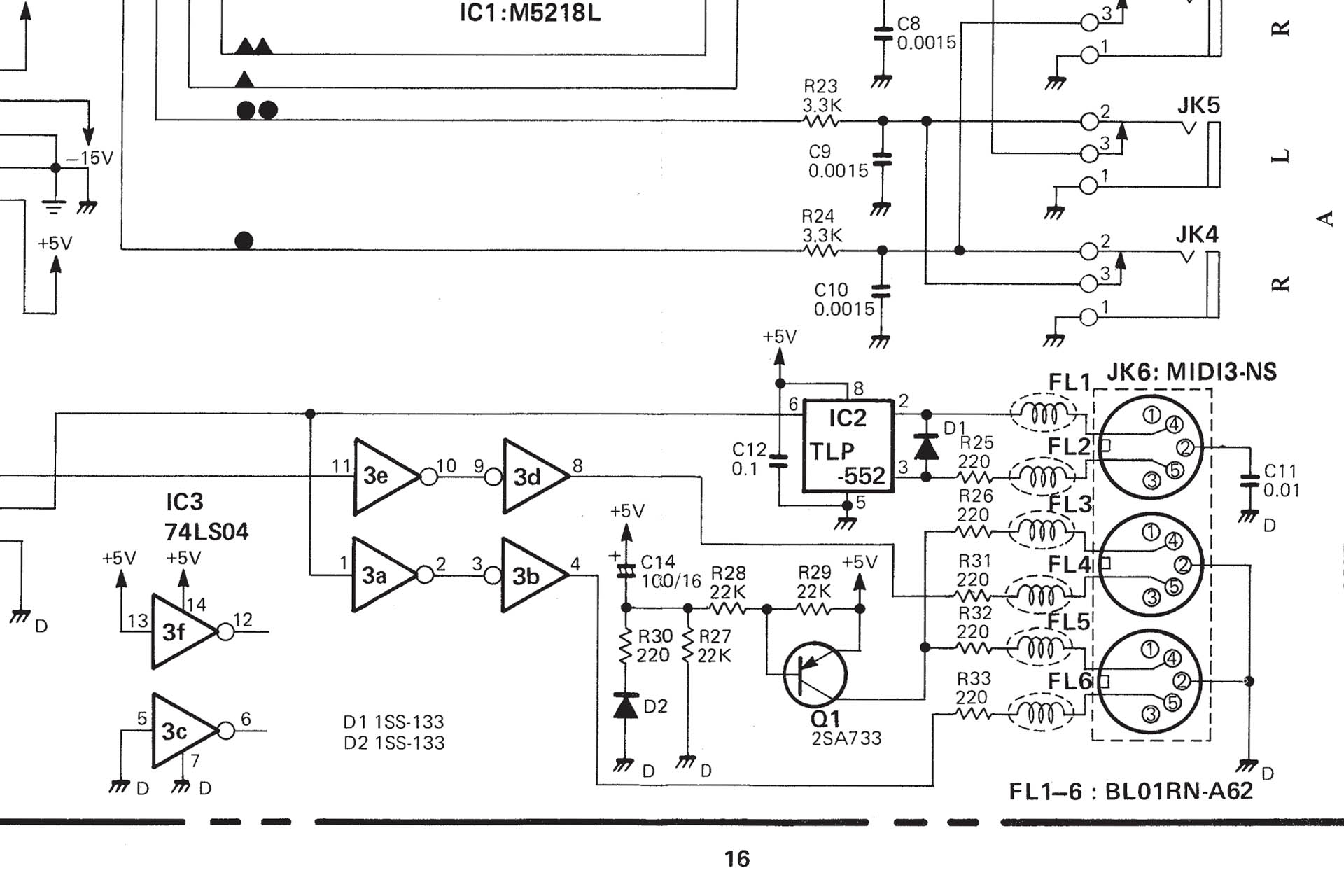 MIDI circuit from MKS-70 Service Notes